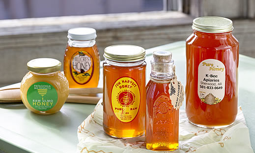 photo displaying multiple brands of local honey from little rock, AR